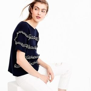 J. Crew Blue Ruffled Front Knit Sweater